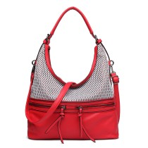 E1853 - MISS LULU MESH DETAIL LEATHER LOOK HOBO BAG - BURGUNDY