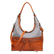 E1853 - MISS LULU MESH DETAIL LEATHER LOOK HOBO BAG - ORANGE