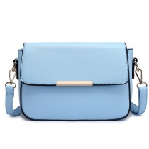 E1854 - MISS LULU LEATHER LOOK CHIC CROSS BODY HANDBAG - BLUE