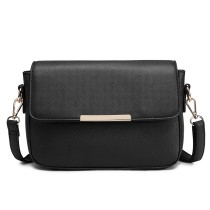E1854 - MISS LULU LEATHER LOOK CHIC CROSS BODY HANDBAG - BLACK