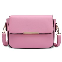 E1854 - MISS LULU LEATHER LOOK CHIC CROSS BODY HANDBAG - PINK