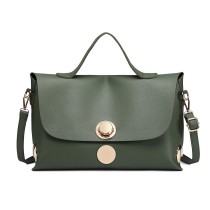 E1855 - MISS LULU LEATHER LOOK SATCHEL HANDBAG - GREEN