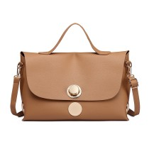 E1855 - MISS LULU LEATHER LOOK SATCHEL HANDBAG - KHAKI