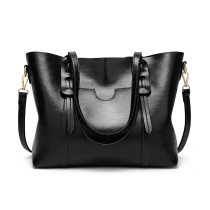 E1856 - MISS LULU HIGH SHINE LEATHER LOOK SHOULDER  BAG - BLACK