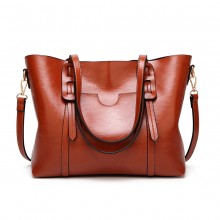 E1856 - MISS LULU HIGH SHINE LEATHER LOOK SHOULDER  BAG - BROWN