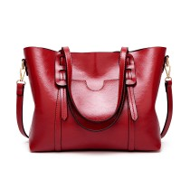 E1856 - MISS LULU HIGH SHINE LEATHER LOOK SHOULDER  BAG - BURGUNDY