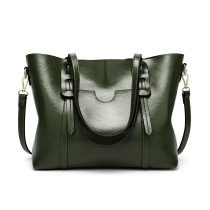 E1856 - MISS LULU HIGH SHINE LEATHER LOOK SHOULDER  BAG - GREEN