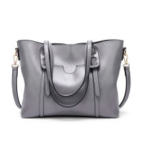 E1856 - MISS LULU HIGH SHINE LEATHER LOOK SHOULDER  BAG - GREY
