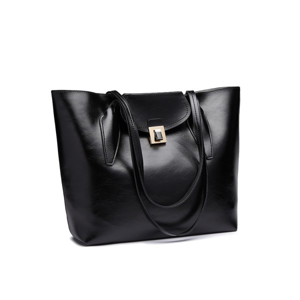 E1857 - MISS LULU OIL WAX LOOK TOTE BAG WITH PURSE - BLACK
