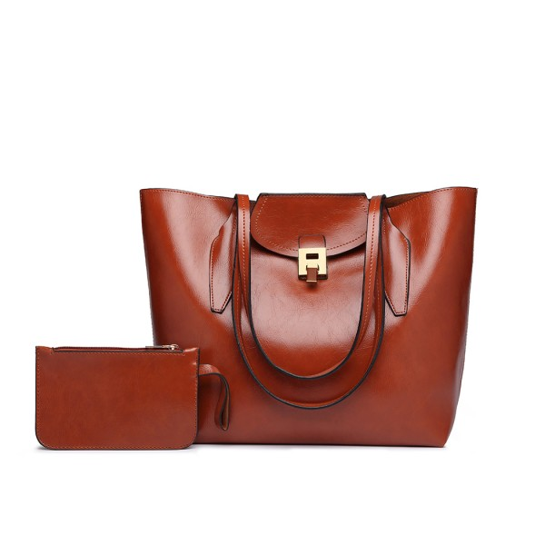 E1857 - MISS LULU OIL WAX LOOK TOTE BAG WITH PURSE - BROWN