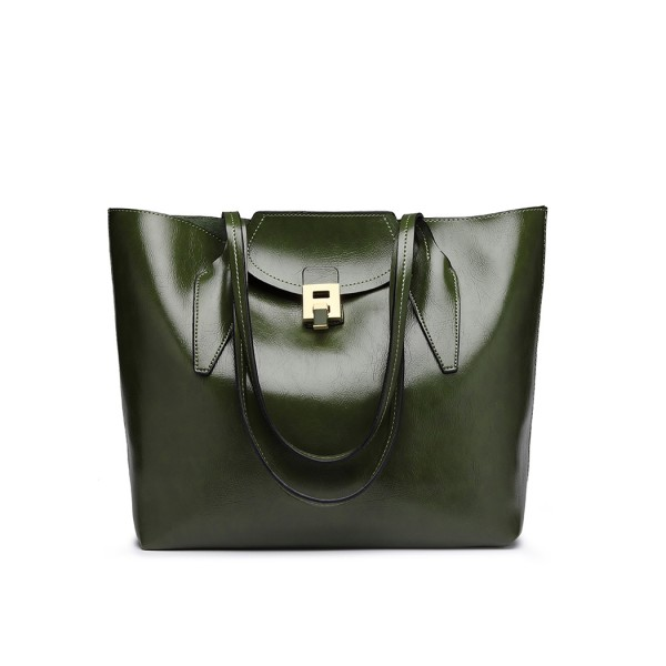 E1857 - MISS LULU OIL WAX LOOK TOTE BAG WITH PURSE - GREEN
