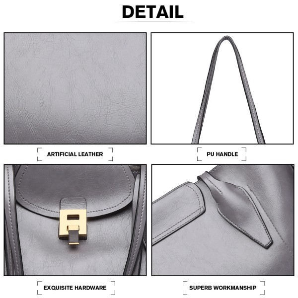 E1857 - MISS LULU OIL WAX LOOK TOTE BAG WITH PURSE - GREY