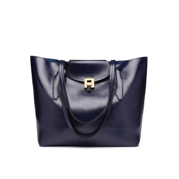 E1857 - MISS LULU OIL WAX LOOK TOTE BAG WITH PURSE - NAVY