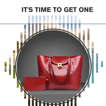 E1857 - MISS LULU OIL WAX LOOK TOTE BAG WITH PURSE - RED