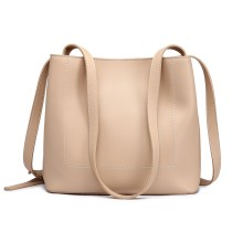 E1858 - MISS LULU LEATHER LOOK SIMPLE SHOPPING TOTE - BEIGE