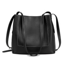 E1858 - MISS LULU LEATHER LOOK SIMPLE SHOPPING TOTE - BLACK