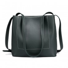 E1858-MISS LULU PU CUIR SIMPLE SHOPPING TOTE SAC À MAIN VERT