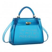 E1905-MISS LULU TRANSPARENT PVC PLASTIC HANDBAG ALPHABET JELLY BAG SHOULDER BAG BLUE