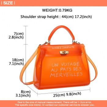 E1905-MISS LULU TRANSPARENT PVC PLASTIC HANDBAG ALPHABET JELLY BAG SHOULDER BAG ORANGE