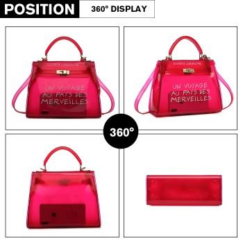 E1905-MISS LULU TRANSPARENT PVC PLASTIC HANDBAG ALPHABET JELLY BAG SHOULDER BAG RED