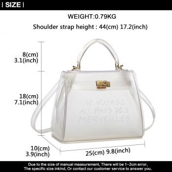 E1905-MISS LULU TRANSPARENT PVC PLASTIC HANDBAG ALPHABET JELLY BAG SHOULDER BAG WHITE