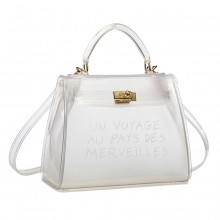 E1905-MISS LULU TRANSPARENT PVC PLASTIC HANDBAG ALPHABET JELLY BAG SHOULDER BAG WHITE