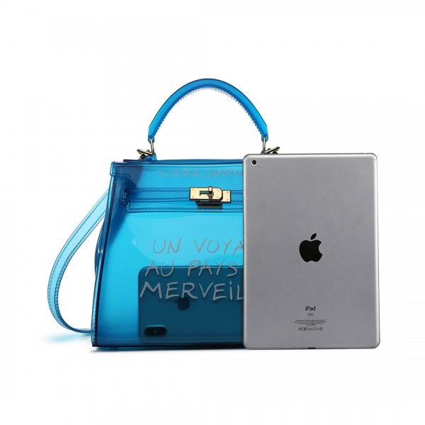E1905S - Semi Transparent Vinyl Slogan Small Handbag - Blue