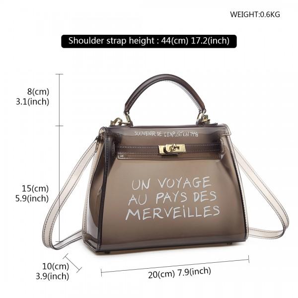 E1905S - Semi Transparent Vinyl Slogan Small Handbag - Black