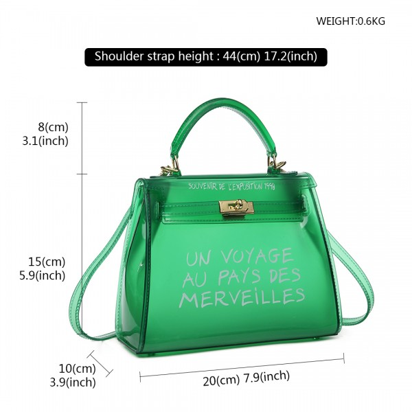 E1905S - Semi Transparent Vinyl Slogan Small Handbag - Green