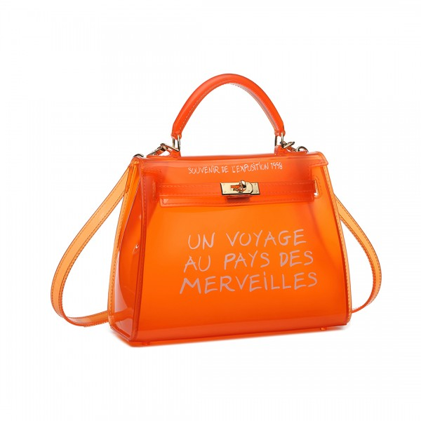 E1905S - Semi Transparent Vinyl Slogan Small Handbag - Orange