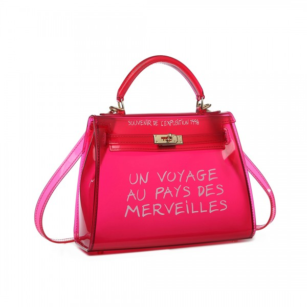 E1905S - Semi Transparent Vinyl Slogan Small Handbag - Red