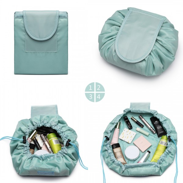 E1912 - Miss Lulu Lazy Drawstring Travel Make Up Cosmetic Bag - Blue