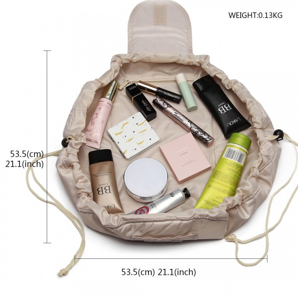 E1912 - Miss Lulu Lazy Drawstring Travel Make Up Cosmetic Bag - Beige