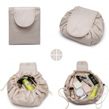 E1912-MISS LULU LAZY DRAWSTRING TRAVEL CONFECTIONNE LE SAC COSMETIQUE BEIGE