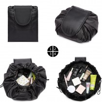 E1912-MISS LULU LAZY DRAWSTRING TRAVEL MAKE COSMETIC BAG NEGRO