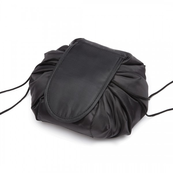 E1912 - Miss Lulu Lazy Drawstring Travel Make Up Cosmetic Bag - Black