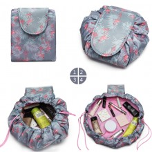 E1912-MISS LULU LAZY DRAWSTRING TRAVEL CONFECTIONNE LE SAC COSMETIQUE FLAMINGO BLEU