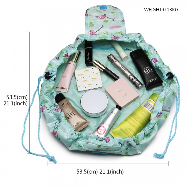 E1912 - Miss Lulu Lazy Drawstring Travel Make Up Cosmetic Bag - Flamingo Green