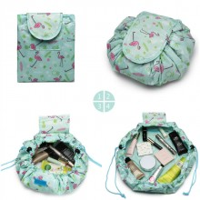 E1912-MISS LULU LAZY DRAWSTRING TRAVEL MAKE COSMETIC TASCHE FLAMINGO GREEN