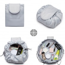 E1912-MISS LULU LAZY DRAWSTRING TRAVEL MAKE COSMETIC BAG GREY