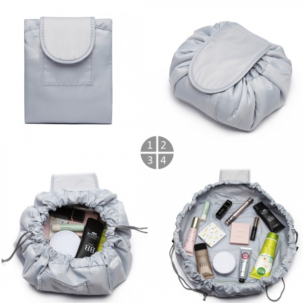 E1912 - Miss Lulu Lazy Drawstring Travel Make Up Cosmetic Bag - Grey