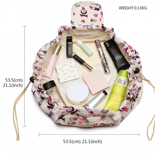 E1912 - Miss Lulu Lazy Drawstring Travel Make Up Cosmetic Bag - Lipstick Beige