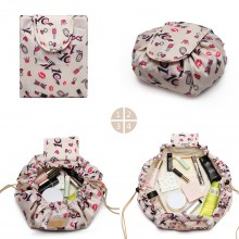 E1912-MISS LULU LAZY DRAWSTRING TRAVEL MAKE COSMETIC BAG LIPSTICK BEIGE