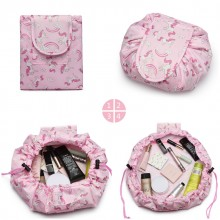 E1912 - Miss Lulu Lazy Drawstring Travel Make Up Cosmetic Bag - Unicorn Pink