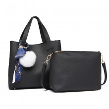 E1913 - Miss Lulu Two Piece Leather Look Shoulder And Cross Body Bag Set With Silk Scarf - Black
