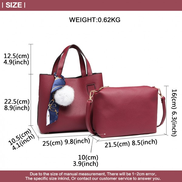 E1913 - Miss Lulu Two Piece Leather Look Shoulder And Cross Body Bag Set With Silk Scarf - Burgundy