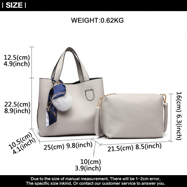 E1913 - Miss Lulu Two Piece Leather Look Shoulder And Cross Body Bag Set With Silk Scarf - Grey
