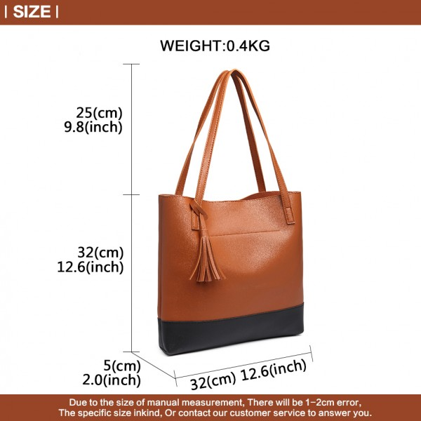 E1914 - Miss Lulu Black Base Tassel Tote Bag - Brown