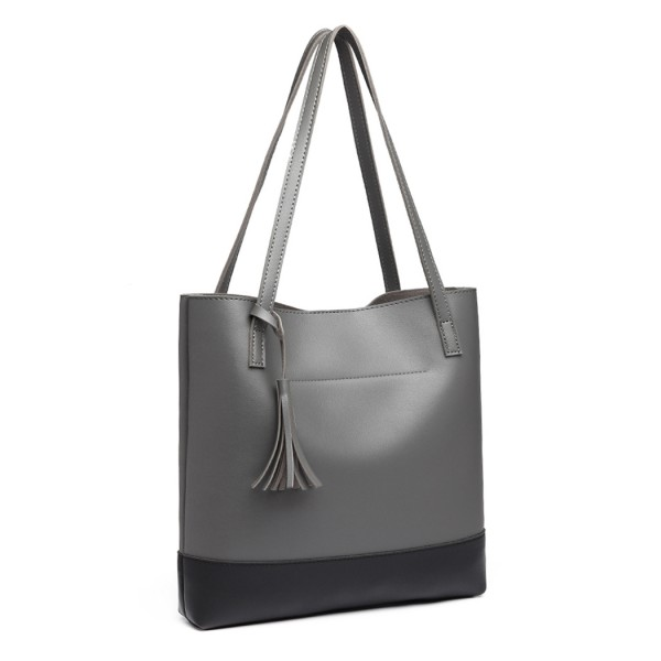 E1914 - Miss Lulu Black Base Tassel Tote Bag - Grey