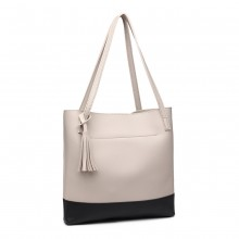 E1914 - Miss Lulu Black Base Tassel Tote Bag - Light Grey